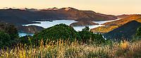 Sunset over Kenepuru Sound in Marlborough Sounds, Nelson Region, Marlborough, South Island, New Zealand
