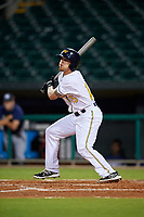 Montgomery Biscuits center fielder Braxton Lee (15) follows through on a swing during a game against the Mississippi Braves on April 24, 2017 at Montgomery Riverwalk Stadium in Montgomery, Alabama.  Montgomery defeated Mississippi 3-2.  (Mike Janes/Four Seam Images)