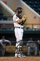 Lakeland Flying Tigers catcher Grayson Greiner (3) during a game against the Tampa Yankees on April 9, 2015 at Joker Marchant Stadium in Lakeland, Florida.  Tampa defeated Lakeland 2-0.  (Mike Janes/Four Seam Images)