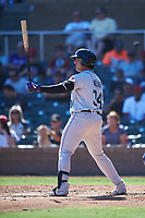 Salt River Rafters Colton Welker (34), of the Colorado Rockies organization, at bat during the Arizona Fall League Championship Game against the Surprise Saguaros on October 26, 2019 at Salt River Fields at Talking Stick in Scottsdale, Arizona. The Rafters defeated the Saguaros 5-1. (Zachary Lucy/Four Seam Images)