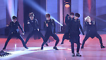 """EXO-K, Jul 24, 2014 : South Korean boy band EXO-K perform at the 10th anniversary live special of weekly music chart show, """"M! Countdown"""" of Mnet in Goyang, north of Seoul, South Korea. (Photo by Lee Jae-Won/AFLO) (SOUTH KOREA)"""