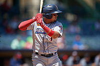 Jacksonville Jumbo Shrimp Rodrigo Vigil (1) at bat during a Southern League game against the Mississippi Braves on May 5, 2019 at Trustmark Park in Pearl, Mississippi.  Mississippi defeated Jacksonville 1-0 in ten innings.  (Mike Janes/Four Seam Images)