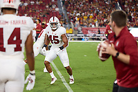 LOS ANGELES, CA - SEPTEMBER 11: Ricky Miezan #45 of the Stanford Cardinal warms up before a game between University of Southern California and Stanford Football at Los Angeles Memorial Coliseum on September 11, 2021 in Los Angeles, California.