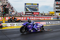 Sep 6, 2020; Clermont, Indiana, United States; NHRA pro stock motorcycle rider Scotty Pollacheck (near) alongside Andrew Hines in the final round of the US Nationals at Lucas Oil Raceway. Mandatory Credit: Mark J. Rebilas-USA TODAY Sports
