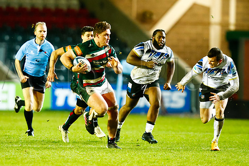 3rd January 2021; Welford Road Stadium, Leicester, Midlands, England; Premiership Rugby, Leicester Tigers versus Bath Rugby; Jasper Wiese of Leicester Tigers breaks free into open field run