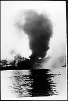 Massive explosion of  ammunition ship in Halifax<br /> , december 17, 1917.<br /> <br /> At 9:05 a.m., in the harbor of Halifax in the Canadian province of Nova Scotia, the most devastating manmade explosion in the pre-atomic age occurs when the Mont Blanc, a French munitions ship, explodes 20 minutes after colliding with another vessel<br /> <br /> Photo Via Agence Quebec Presse