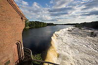 Pawtucket Falls, Lowell, MA, Merrimack River panorama with high water