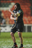 Martin Castrogiovanni of Leicester Tigers removes his strapping after the Heineken Cup 6th round match between Leicester Tigers and Stade Toulousain at Welford Road on Sunday 20th January 2013 (Photo by Rob Munro).
