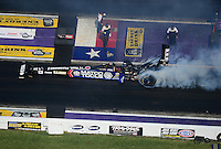 Apr. 28, 2012; Baytown, TX, USA: Aerial view of NHRA top fuel dragster driver Antron Brown during qualifying for the Spring Nationals at Royal Purple Raceway. Mandatory Credit: Mark J. Rebilas-