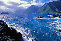 Coastal cliffs beyond the Kalawao District, Kalaupapa Peninsula, North Shore, Molokai