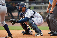 GCL Yankees West catcher Meure Rodriguez waits to receive a pitch during a game against the GCL Tigers West on August 10, 2018 at Yankee Complex in Tampa, Florida.  GCL Yankees West defeated GCL Tigers West 6-5.  (Mike Janes/Four Seam Images)