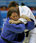 William Morgan (in blue) of Brantford, Ont. in men's under 100 kg. judo action against Mykola Lyivytskyi of Ukraine at the Paralympic Games in Beijing,Tuesday, Sept., 9, 2008.   Photo by Mike Ridewood/CPC
