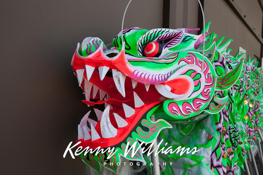 Green Dragon Head, Dragon Fest 2015, Chinatown, Seattle, Washington, USA