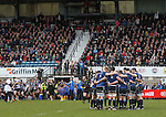 Leinster A players get together for one final team talk as the Pontypridd players run out in front of their home fans.<br /> British & Irish Cup Semi Final<br /> Pontypridd v Leinster A<br /> Sardis Road - Pontypridd<br /> <br /> ©Steve Pope-SPORTINGWALES