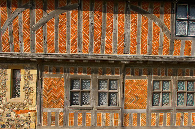 Tudor Window and wall of Old Town Hall Aldeurgh, Suffolk, UK