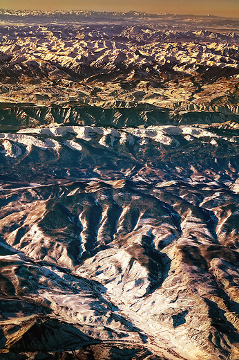 Aerial view of the Rockies in the winter