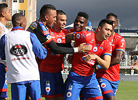 IPIALES - COLOMBIA, 05-06-2019: Carlos Hidalgo del Pasto celebra después de anotar el primer gol de su equipo partido por la fecha 6, cuadrangulares semifinales, de la Liga Águila I 2019 entre Deportivo Pasto y Unión Magdalena jugado en el estadio Estadio Municipal de Ipiales. / Carlos Hidalgo of Pasto celebrates after scoring the first goal of his team during match for the date 6, semifinal quadrangulars, as part of Aguila League I 2019 between Deportivo Pasto and Union Magdalena played at Municipal stadium of Ipiales.  Photo: VizzorImage / Leonardo Castro / Cont