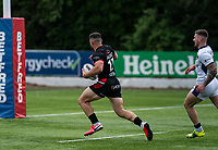 Abbas Miski of London Broncos intercepts and races to the try line to score his try during the Betfred Championship match between London Broncos and Newcastle Thunder at The Rock, Rosslyn Park, London, England on 9 May 2021. Photo by Liam McAvoy.