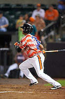 Aberdeen Ironbirds shortstop Ricardo Andujar (18) at bat during a game against the Tri-City ValleyCats on August 6, 2015 at Ripken Stadium in Aberdeen, Maryland.  Tri-City defeated Aberdeen 5-0 in a combined no-hitter.  (Mike Janes/Four Seam Images)