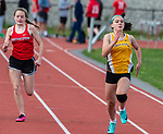 WINSTED, CT 051121JS11—Thomaston's Clare Saunders won the 100m dash during their meet  with Northwestern Tuesday at Northwestern Regional High School. <br /> Jim Shannon Republican American
