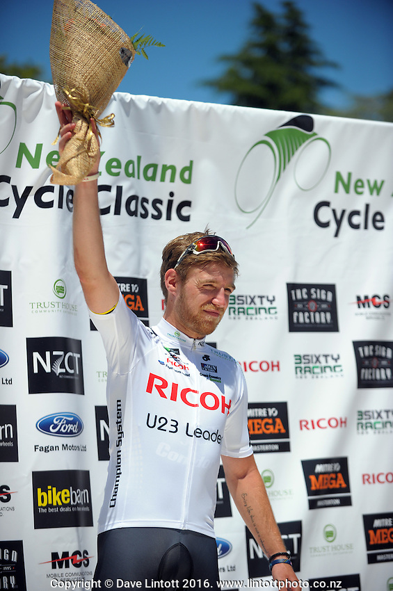 Stage one winner Chris Lawless (Great Britain) of JLT Condor. UCI Oceania Tour - NZ Cycling Classic stage one - Masterton to Gladstone circuit in Wairarapa, New Zealand on Wednesday, 20 January 2016. Photo: Dave Lintott / lintottphoto.co.nz