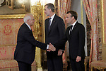 King Felipe VI of Spain, receives in the Royal Palace the President of the French Republic Emmanuel Macron in presence of the External Subjects Minister, Josep Borrell. July 26,2018. (ALTERPHOTOS/Acero)