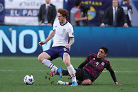6th June 2021. Denver, Colorado, USA;  United States forward Josh Sargent wins the ball from Mexico midfielder Edson Alvarez during the CONCACAF Nations League finals between Mexico and the United States  at Empower Field at Mile High in Denver, CO.
