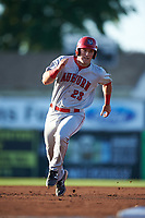 Auburn Doubledays designated hitter Chance Shepard (23) running the bases during a game against the Batavia Muckdogs on July 4, 2017 at Dwyer Stadium in Batavia, New York.  Batavia defeated Auburn 3-2.  (Mike Janes/Four Seam Images)