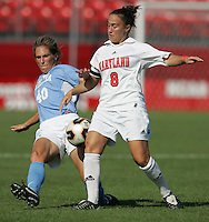 OCT 2, 2005: College Park, MD, USA:  UNC Tarheeldefender #40 Vanessa Toll fights for the ball with Maryland Terrapins midfielder #8 Kimmy Francis at Ludwig Field.  UNC won, 4-0. Mandatory Credit: Photo By Brad Smith (c) Copyright 2005 Brad Smith