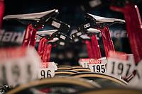 Trek-Segafredo putting the data-transponders on the bikes <br /> <br /> Stage 1: Noirmoutier-en-l'Île > Fontenay-le-Comte (189km)<br /> <br /> Le Grand Départ 2018<br /> 105th Tour de France 2018<br /> ©kramon