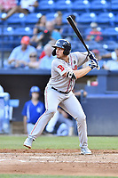 Greenville Drive third baseman Triston Casas (38) at bat during a game against the Asheville Tourists at McCormick Field on July 10, 2019 in Asheville, North Carolina. The Tourists defeated the Drive 1-0. (Tony Farlow/Four Seam Images)