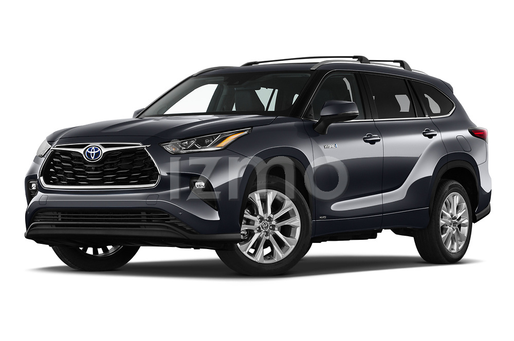 Stock pictures of low aggressive front three quarter view of 2021 Toyota Highlander-Hybrid Limited 5 Door SUV Low Aggressive