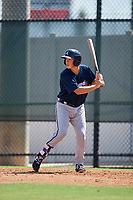 Atlanta Braves Logan Brown (57) at bat during a Florida Instructional League game against the Philadelphia Phillies on October 5, 2018 at the Carpenter Complex in Clearwater, Florida.  (Mike Janes/Four Seam Images)