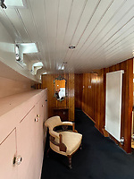 BNPS.co.uk (01202) 558833. <br /> Pic: Zeewarriors/BNPS<br /> <br /> Pictured: Bedroom. <br /> <br /> A 100-year old Dutch sailing barge moored in Bermondsey has gone on sale for £278,000.<br /> <br /> The 25-metre MV Johanna Elisabeth was originally constructed in 1913 at Appelo, Zwartsluis in Holland, and was brought to the UK in 2003 by a previous owner.<br /> <br /> Her work as a sailing barge included shipping freight but she is now moored at the South Dock Marina in Bermondsey, south London, and used as a home.