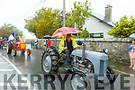 Eddie Joe McElligott didnt let the rain spoil the Ardfert Tractor Run fundraiser for the staff of UHK on Sunday.