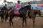 DEL MAR, CA  JULY 16: #8 Flashiest, ridden by Abel Cedillo,in the post parade of the Runhappy Ocean side Stakes, on July 16, 2021 at Del Mar Thoroughbred Club in Del Mar, CA<br /> (Photo by Casey Phillips/Eclipse Sportswire/CSM)