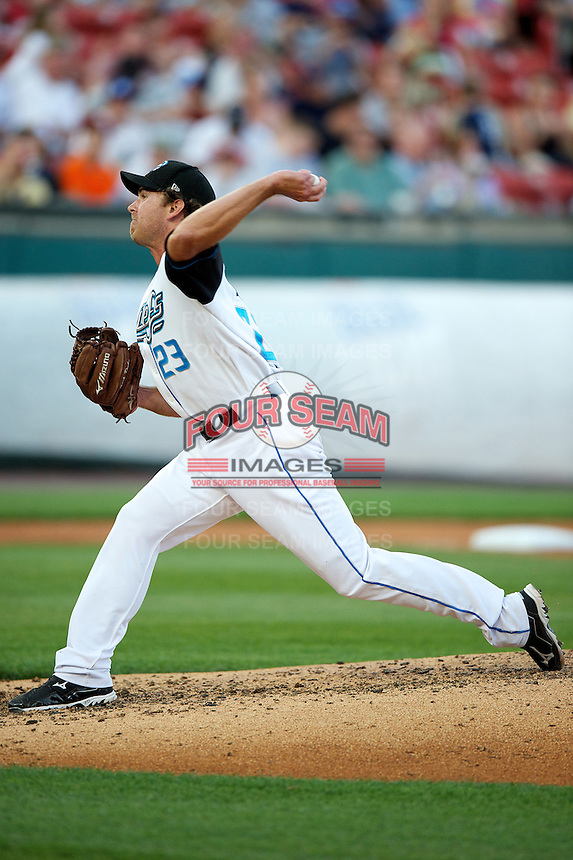 Syracuse Chiefs pitcher Zach Duke #23 during the Triple-A All-Star game featuring the Pacific Coast League and International League top players at Coca-Cola Field on July 11, 2012 in Buffalo, New York.  PCL defeated the IL 3-0.  (Mike Janes/Four Seam Images)