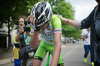 stage winer Stefano Pirazzi (ITA/Bardiani-CSF) is overwhelmed by emotions after the biggest win in his career<br /> <br /> 2014 Giro d'Italia <br /> stage 17: Sarnonico - Vittori Veneto (208km)