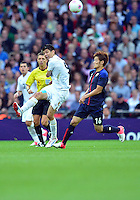 August 07, 2012..Japan's Hotaru Yamaguchi Mexico's Oribe Peralta in action during Semi Final match at the Wembley Stadium on day eleven in Wembley, England. Mexico defeat Japan 3-1 to reach Men's Finals of the 2012 London Olympics...