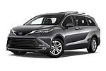 Stock pictures of low aggressive front three quarter view of 2021 Toyota Sienna Platinum 5 Door Minivan Low Aggressive