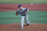 Old Dominion Monarchs relief pitcher Jacob Gomez (43) in action against the Charlotte 49ers at Hayes Stadium on April 23, 2021 in Charlotte, North Carolina. (Brian Westerholt/Four Seam Images)