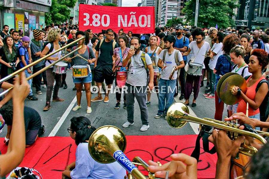 Manifestaçao contra o aumento das tarifas de transporte, Movimento Passe Livre, MPL. Sao Paulo. 2016. Foto de Lineu Kohatsu.