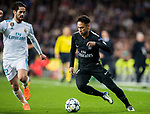 Neymar da Silva Santos Junior, Neymar Jr (R), of Paris Saint Germain battles for the ball with Isco Alarcon of Real Madrid during the UEFA Champions League 2017-18 Round of 16 (1st leg) match between Real Madrid vs Paris Saint Germain at Estadio Santiago Bernabeu on February 14 2018 in Madrid, Spain. Photo by Diego Souto / Power Sport Images