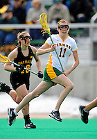 5 April 2008: University of Vermont Catamounts' Midfielder Kristen Millar, a Junior from Whitby, Ontario, in action against the University at Albany Great Danes at Moulton Winder Field, in Burlington, Vermont. With only seconds left in regulation time, the Catamounts rallied to defeat the visiting Danes 11-10 in America East conference play...Mandatory Photo Credit: Ed Wolfstein Photo
