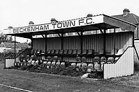 Main stand at Beckenham Town Football Club, Eden Park Avenue, Beckenham, Kent pictured on 27th September 1986