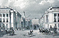London: Regent Street, Engraving. Looking up street to County Fire Office & Great Quadrant.