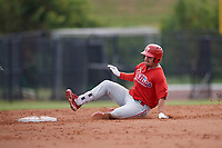 Philadelphia Phillies Jack Zoellner (28) slides safely into second base during an Instructional League game against the Toronto Blue Jays on September 30, 2017 at the Carpenter Complex in Clearwater, Florida.  (Mike Janes/Four Seam Images)