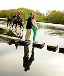 Engagement Photo Shoot with Reflections.Rockefeller Preserve.Westchester, New York