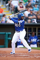 Oklahoma City Dodgers first baseman O'Koyea Dickson (23) at bat during a game against the Fresno Grizzles on June 1, 2015 at Chickasaw Bricktown Ballpark in Oklahoma City, Oklahoma.  Fresno defeated Oklahoma City 14-1.  (Mike Janes/Four Seam Images)