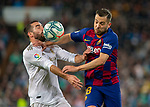 Real Madrid CF's Dani Carvajal and FC Barcelona's defense Jordi Alba fights for the ball during La Liga match. Mar 01, 2020. (ALTERPHOTOS/Manu R.B.)